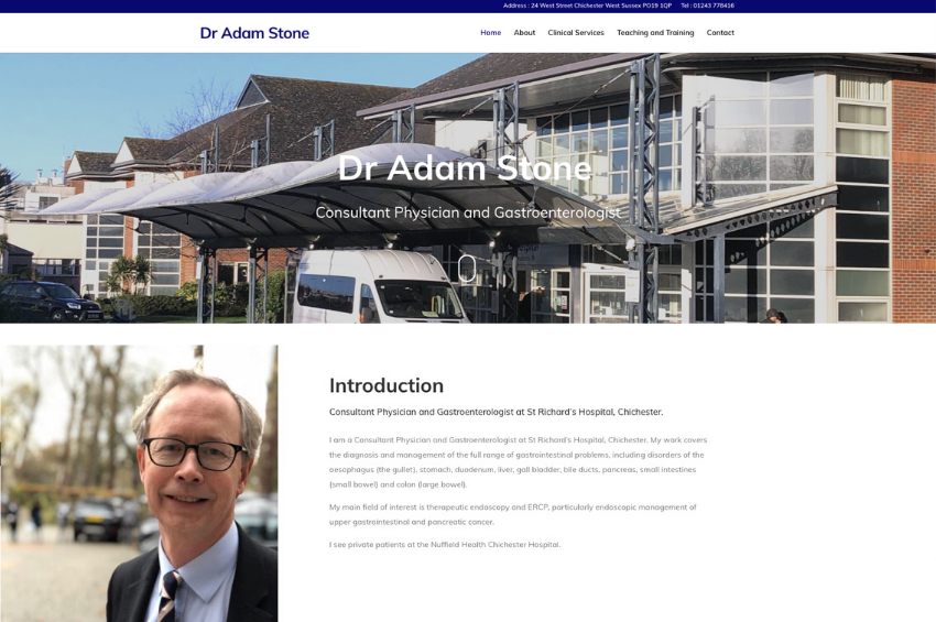 New website and branding for Dr Adam Stone – Consultant Physician and Gastroenterologist