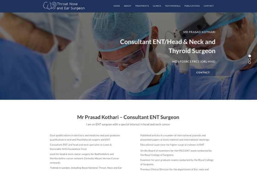 Medical Website Design For Consultant ENT Surgeon