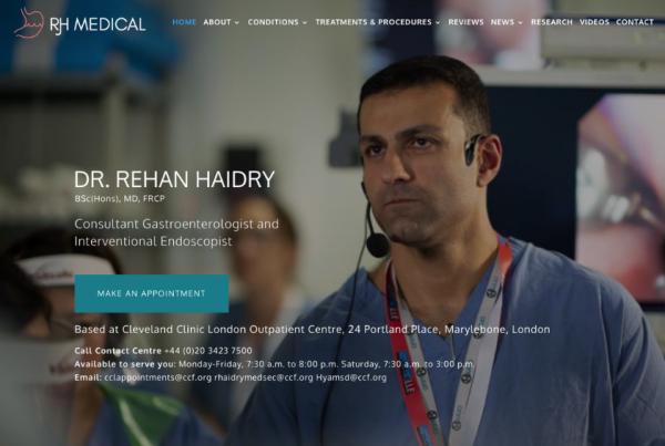 Medical Website Design - Dr Rehan Haidry