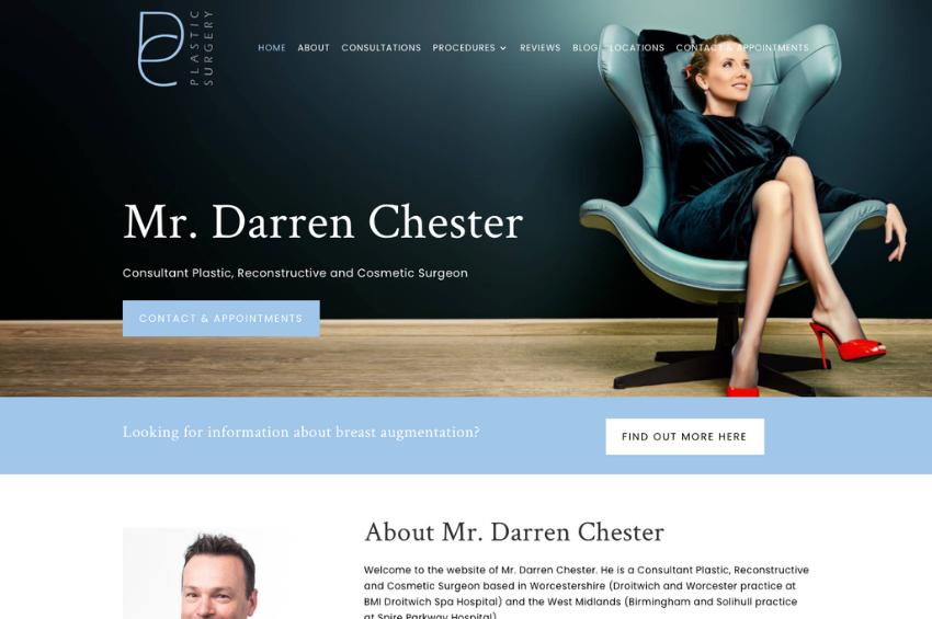 Plastic Surgery Website Design for Mr Darren Chester
